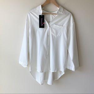 NWT Amaryllis White Collar Hi/Low Blouse Top Sz XL